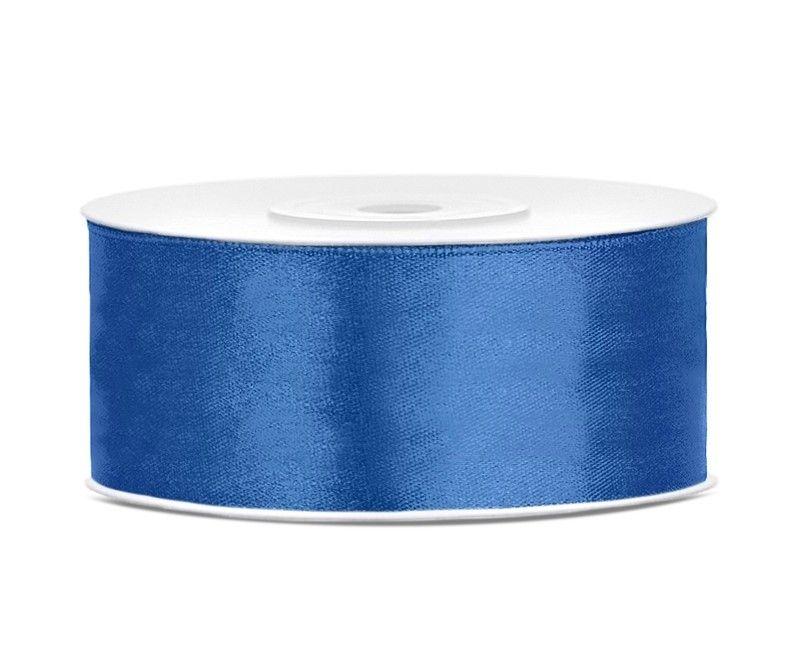 Satijn lint royal blauw 25mm, rol 25 meter