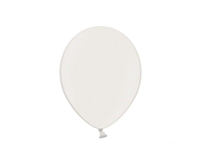 Party ballon 30cm wit parelmoer metallic, 50 stuks