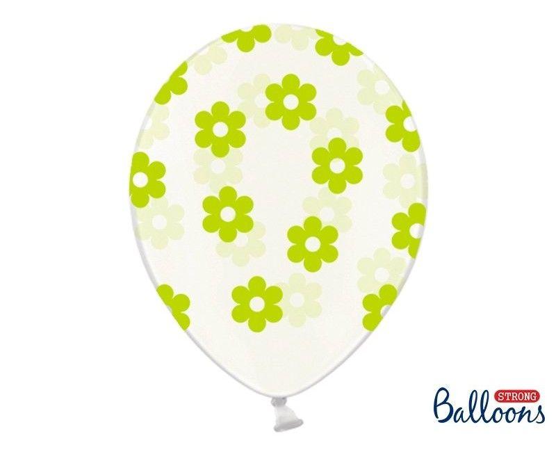 Ballonnen 30cm transparant met groene bloemen, 6 stuks