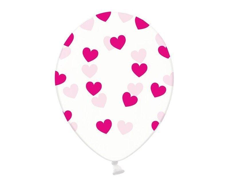 Ballonnen 30cm transparant met roze hartjes, 6 stuks