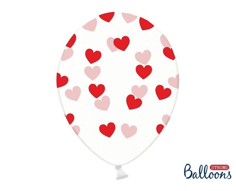 Ballonnen 30cm transparant met rode hartjes, 6 stuks