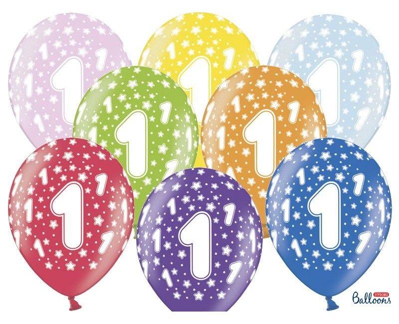 Leeftijd ballonnen 1 jaar mix metallic, 6 stuks