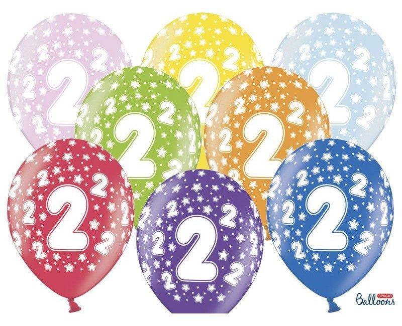 Leeftijd ballonnen 2 jaar mix metallic, 6 stuks