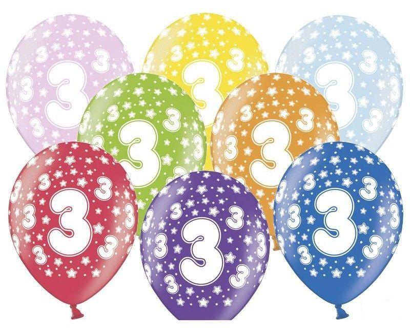 Leeftijd ballonnen 3 jaar mix metallic, 6 stuks