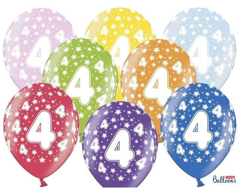 Leeftijd ballonnen 4 jaar mix metallic, 6 stuks
