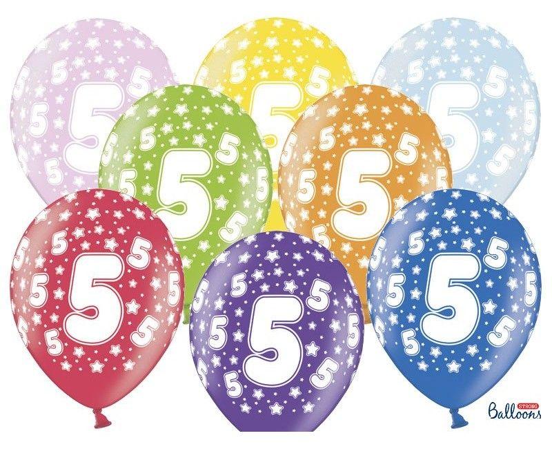 Leeftijd ballonnen 5 jaar mix metallic, 6 stuks