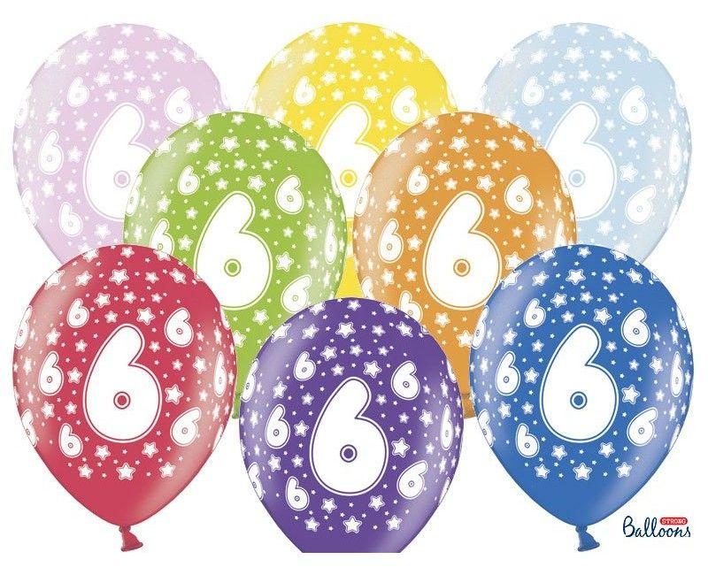 Leeftijd ballonnen 6 jaar mix metallic, 6 stuks
