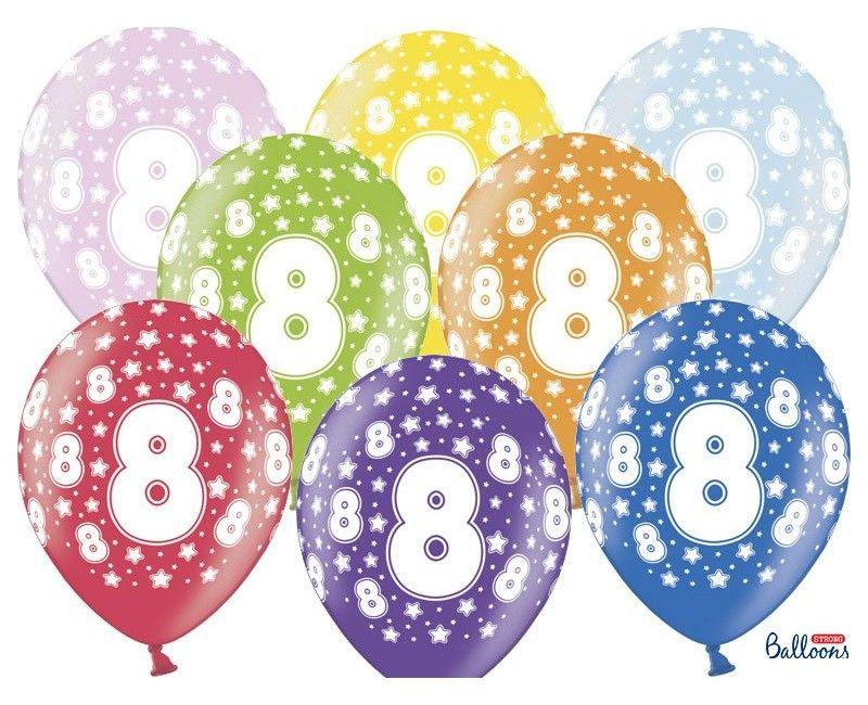 Leeftijd ballonnen 8 jaar mix metallic, 6 stuks