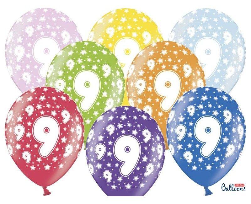 Leeftijd ballonnen 9 jaar mix metallic, 6 stuks