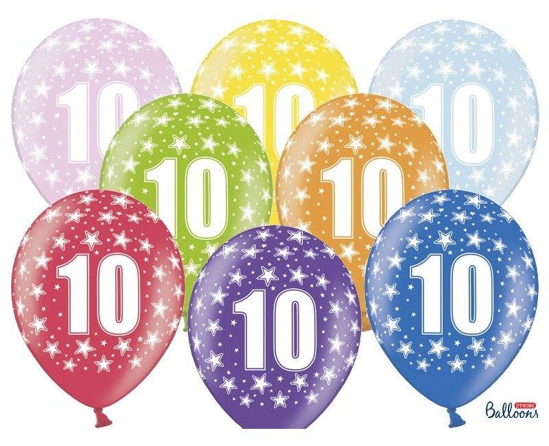 Leeftijd ballonnen 10 jaar mix metallic, 6 stuks