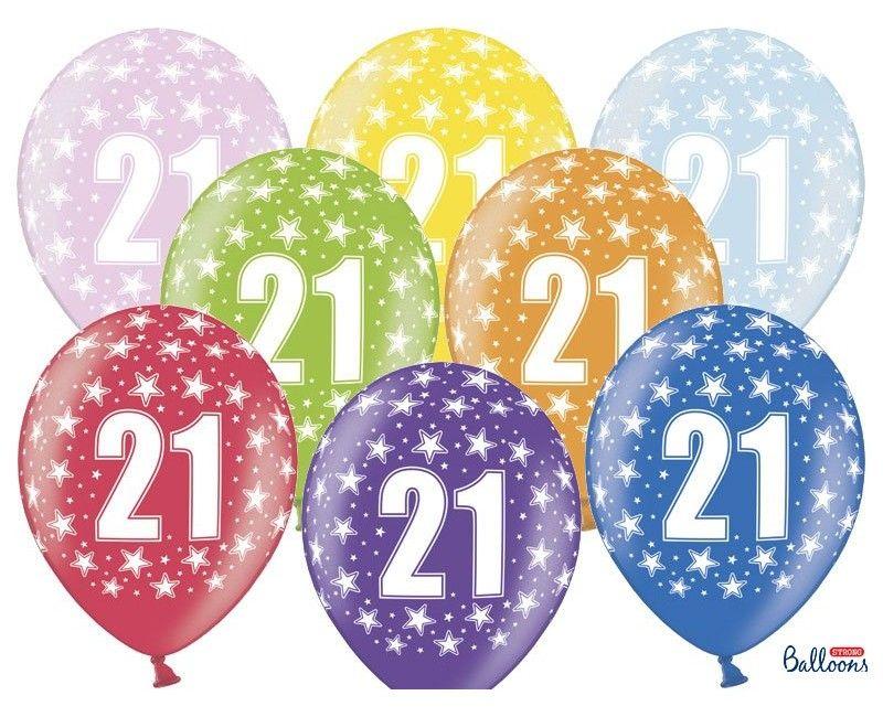Leeftijd ballonnen 21 jaar mix metallic, 6 stuks