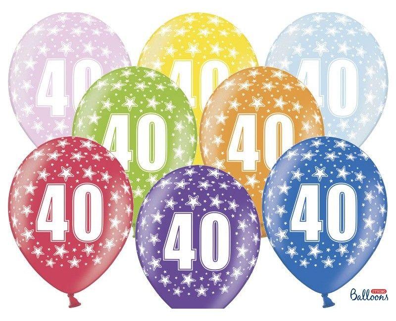 Leeftijd ballonnen 40 jaar mix metallic, 6 stuks