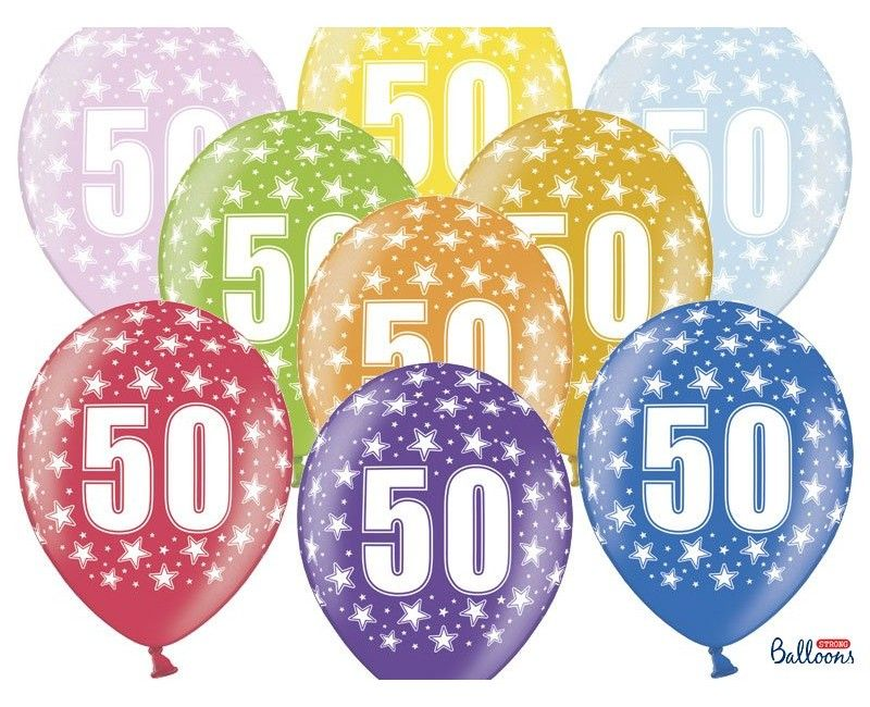 Leeftijd ballonnen 50 jaar mix metallic, 6 stuks