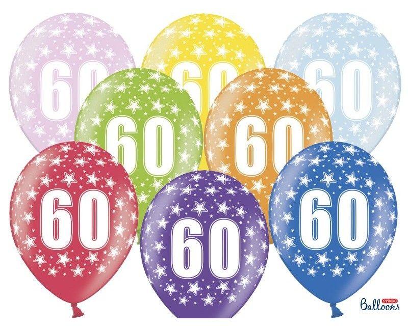 Leeftijd ballonnen 60 jaar mix metallic, 6 stuks