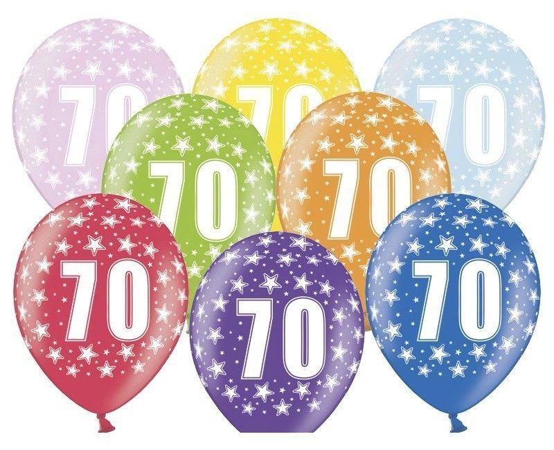 Leeftijd ballonnen 70 jaar mix metallic, 6 stuks