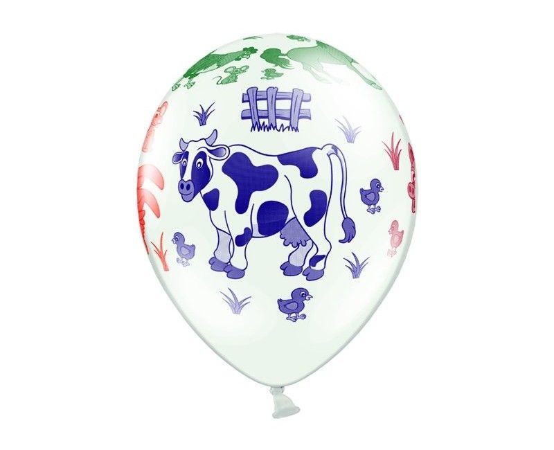 Ballonnen boerderij wit, 6 stuks