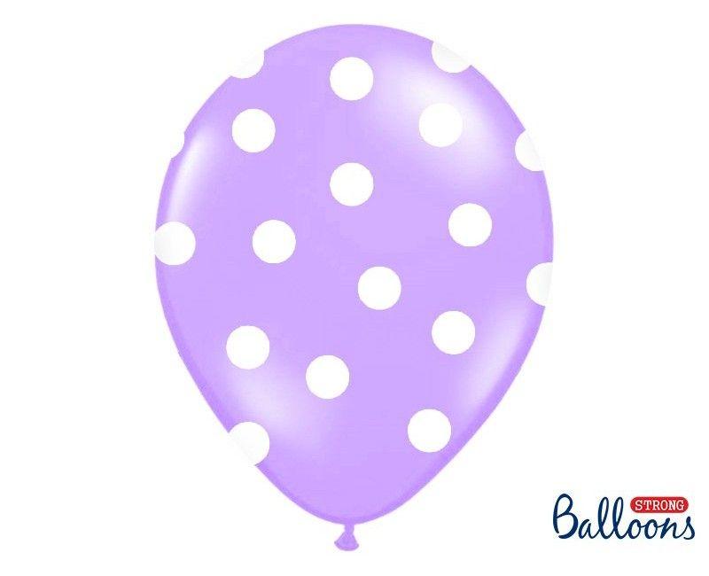 Ballonnen 30cm paars met witte stippen, 6 stuks
