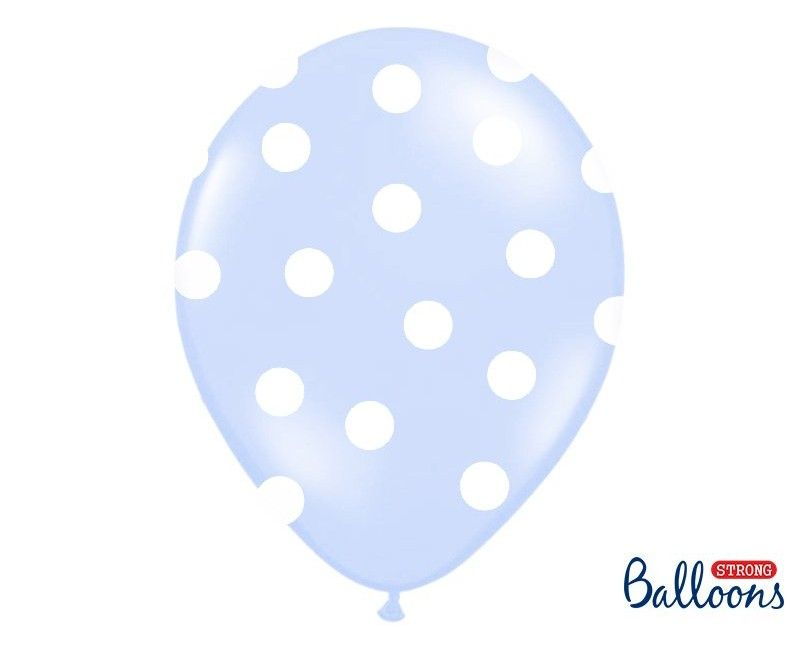 Ballonnen 30cm lichtblauw met witte stippen, 6 stuks