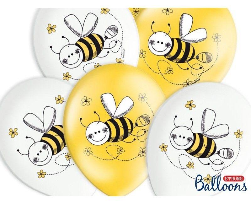 Ballonnen wit en geel bijen, 6 stuks