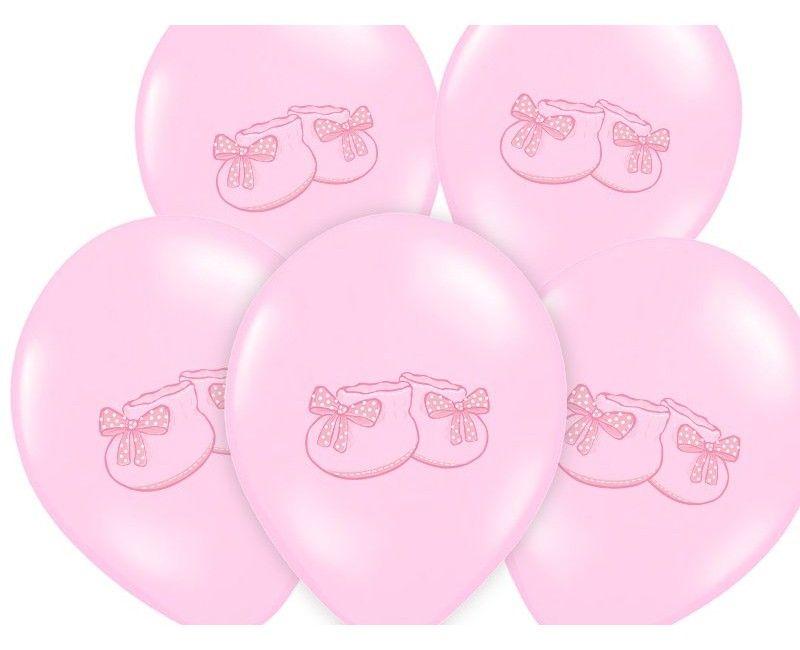 Ballonnen babyslofjes lichtroze, 6 stuks