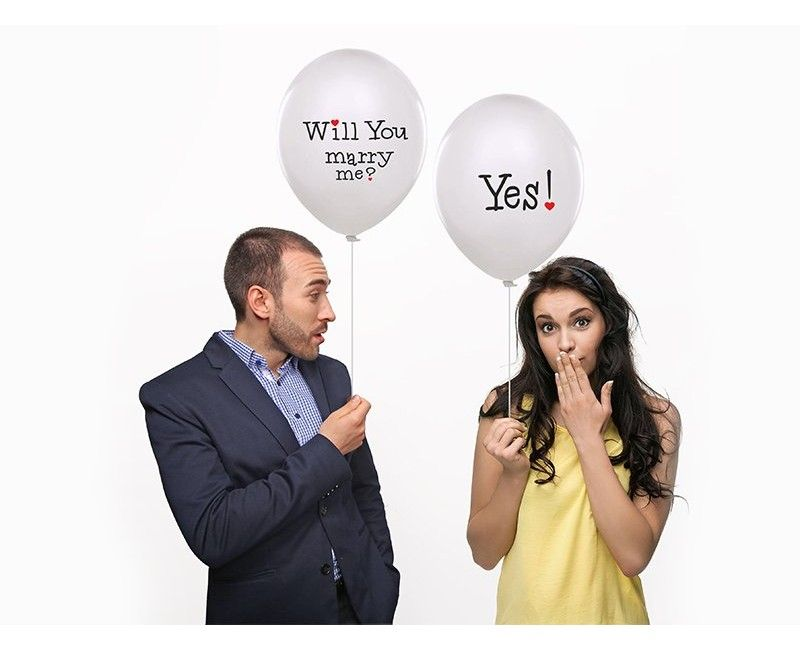 """Witte ballonnen """"Will you marry me?"""""""