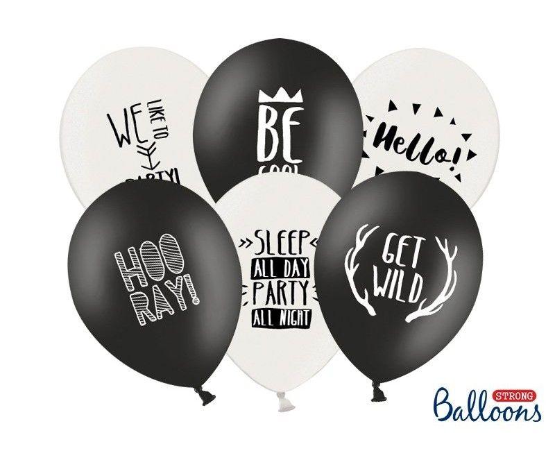 Ballonnen 30cm zwart en wit Party mix, 6 stuks