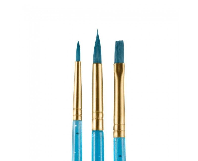 Snazaroo set schminkpenselen blauw, 3 stuks