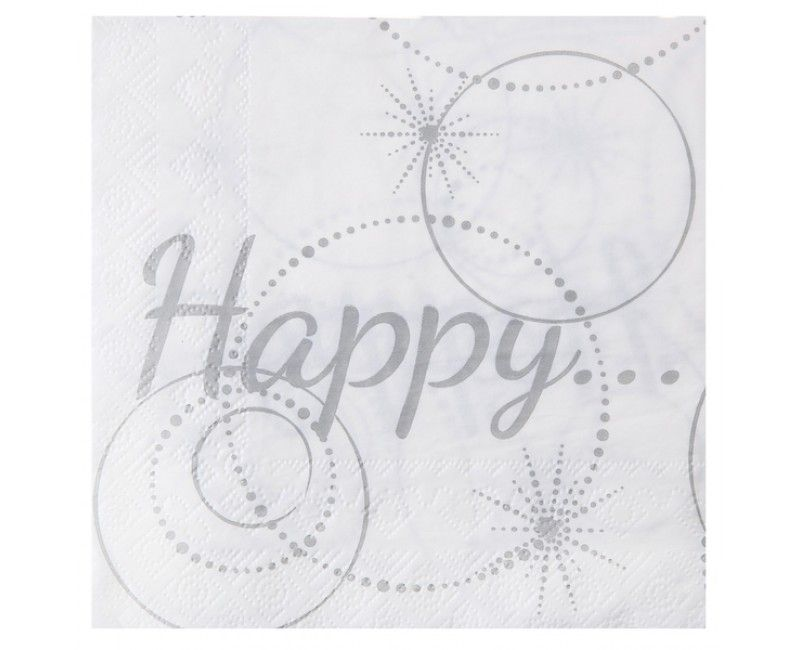 Servetten Happy wit 16.5 x 16.5 cm, 20 stuks