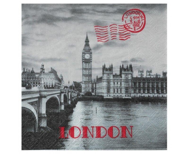 Servetten 33 x 33cm vintage look Londen, 20 stuks