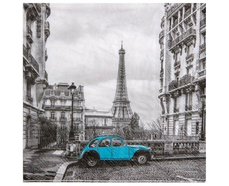 Servetten 33 x 33cm vintage look Parijs, 20 stuks