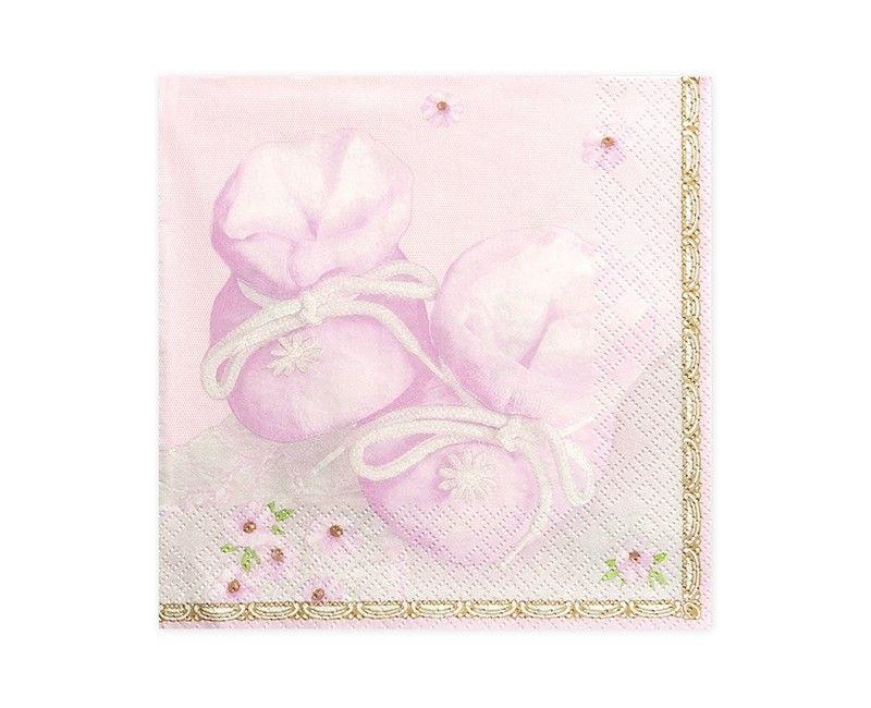 Servetten babyslofjes met bloemen lichtroze, 20 stuks
