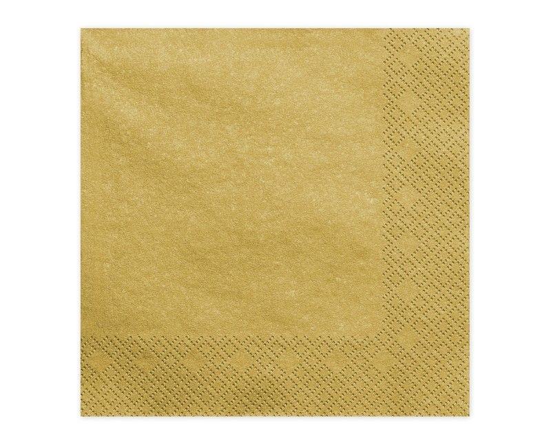 Servetten goud metallic 33 x 33cm, 20 stuks