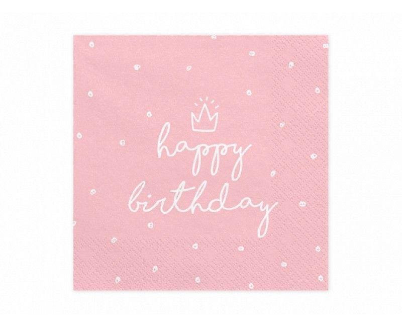 Servetten Happy Birthday lichtroze, 20 stuks