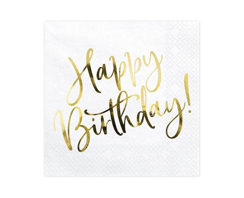 Servetten Happy Birthday wit goud metallic, 20 stuks