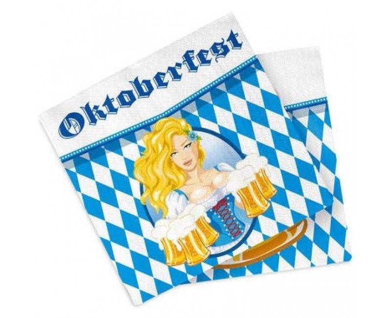 Servetten Oktoberfest bierpullen 33 x 33cm, 20 stuks
