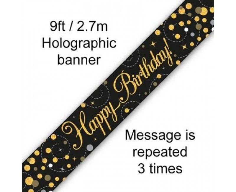 Sjerp holografisch Happy Birthday zwart goud 2.7 mtr, per stuk