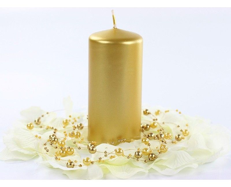 Stompkaarsen 6 x 12cm metallic gold, 6 st.