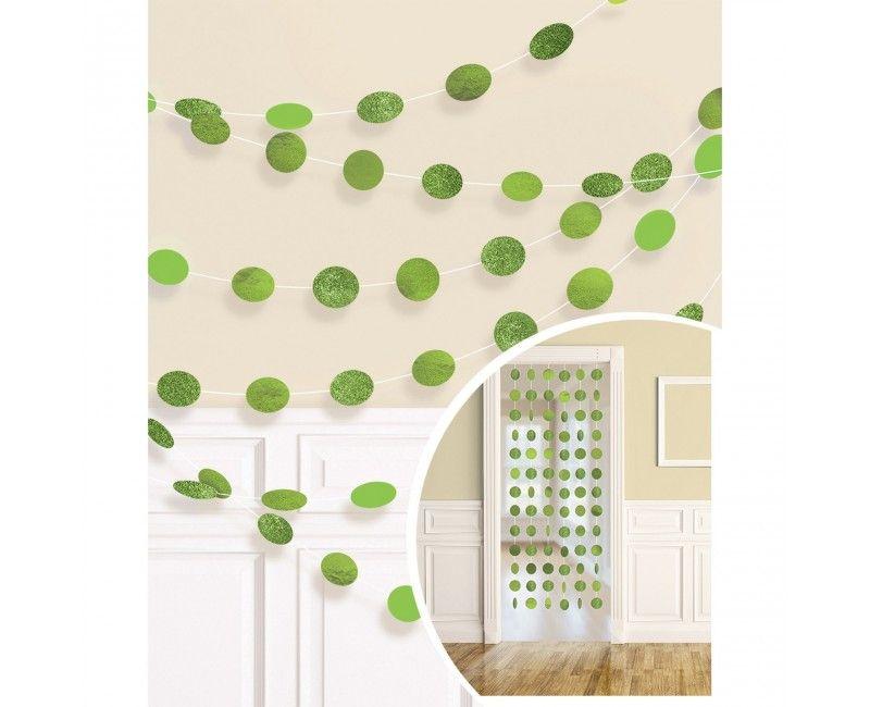 Decoratie slinger dots groen, 6 stuks