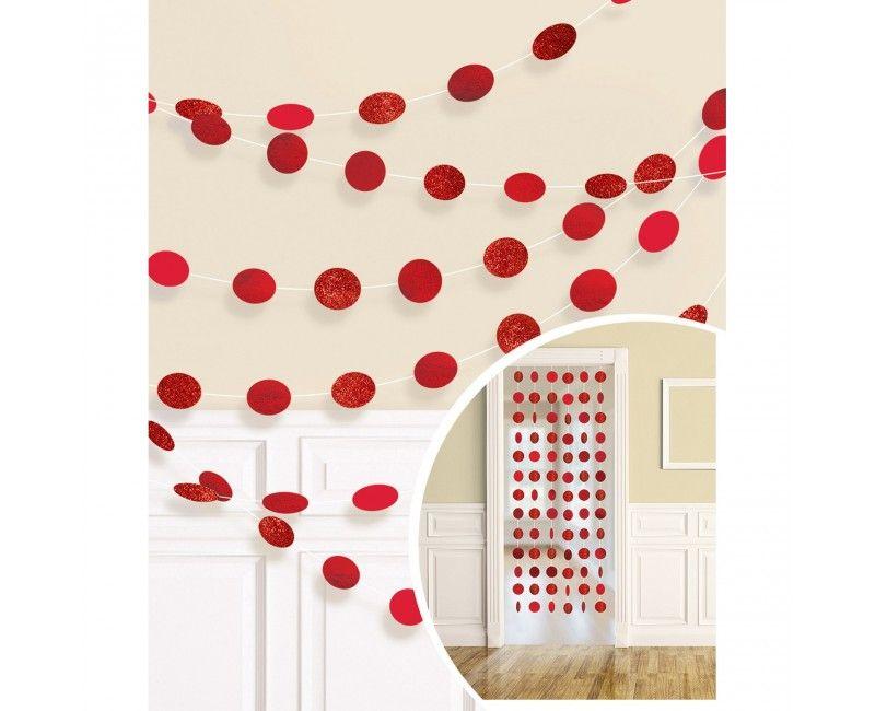Decoratie slinger dots rood, 6 stuks