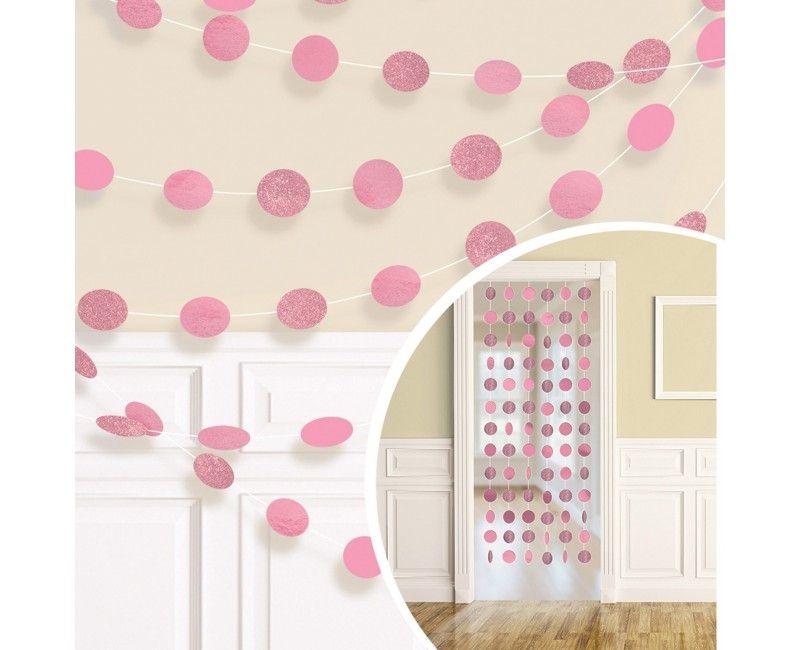 Decoratie slinger dots lichtroze, 6 stuks