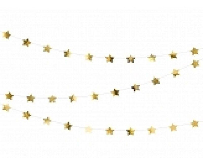 Papieren slinger met sterren goud metallic, 3.6 meter