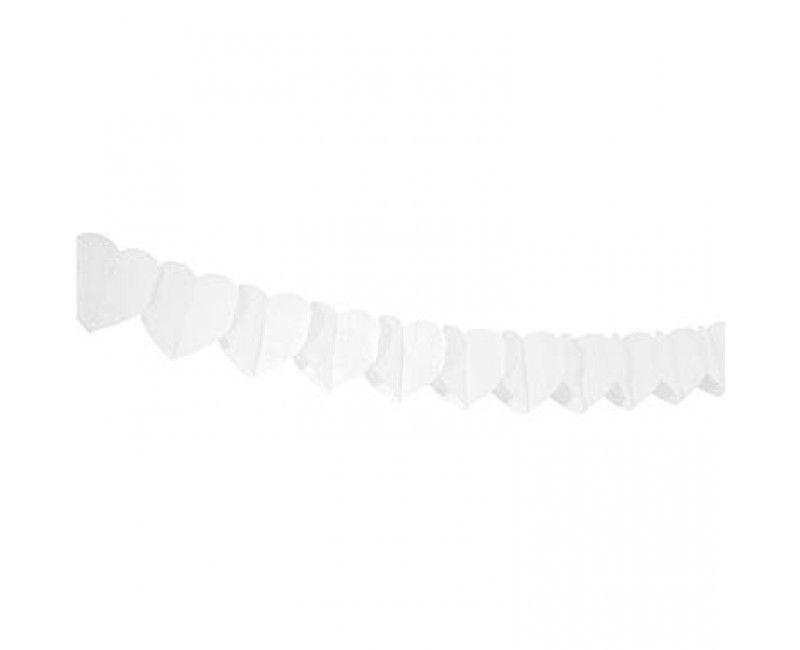 Papieren slinger wit hart, 6 meter