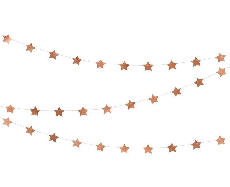 Papieren slinger met sterren rose gold metallic, 3.6 meter