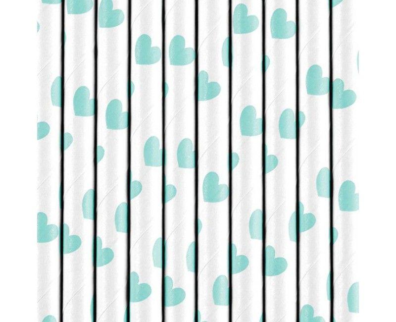 Papieren rietjes wit met lichtblauwe hartjes, 10 stuks
