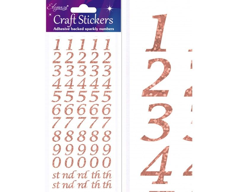 Craft stickers cijfers style rose gold glitter, 14mm