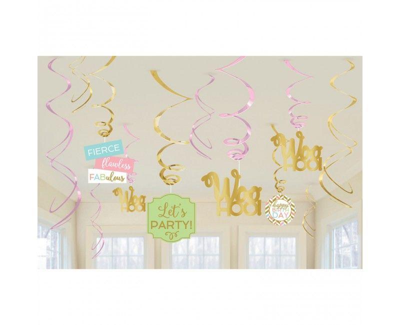 Verjaardags decorastieset Happy Birthday Woohoo! - 12-delig