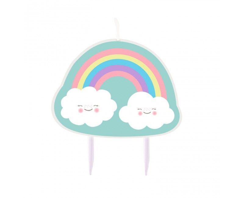 Taartkaars regenboog & wolken, 6.5 x 8.5cm
