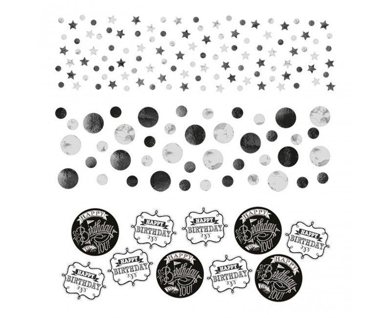 Tafelconfetti folie/papier happy birthday black & white, 34 gram