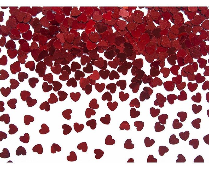 Tafelconfetti kleine hartjes rood metallic, zakje 30 gram