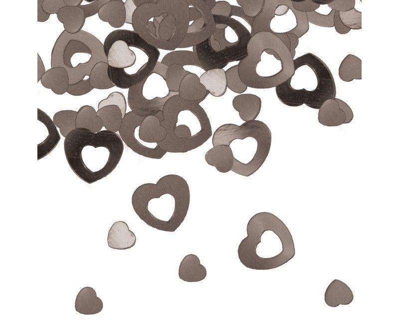 Metallic tafelconfetti hart zilver